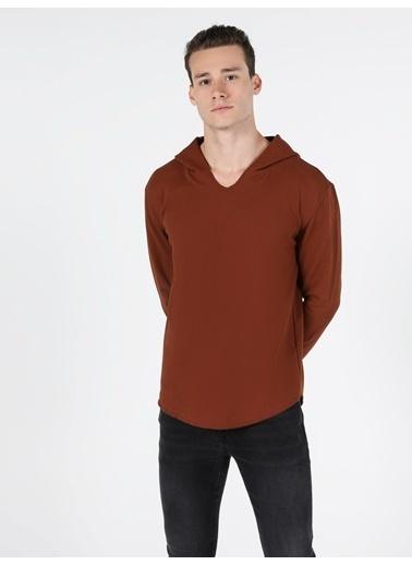 Colin's Regular Fit Hooded Erkek Bordo Tshirt U.Kol Bordo